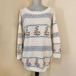 Vtg Floral Print Sweater
